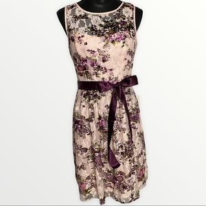 Adrianna Papell Fit & Flare Sleeveless Dress Size 6 Pink w/Purple Floral Print